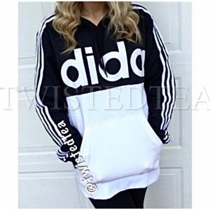 🖤 NWT XL hoodie sweatshirt adidas colorblock 3 stripe pullover spell out pocket